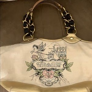 Coach fabric and leather bag
